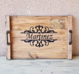 e113c1e7158 Join us 1 18 to make your very own Rustic Personalized Serving Tray. Make  as a gift or keep for yourself. The tray is 16×24″ inches with black  handles.