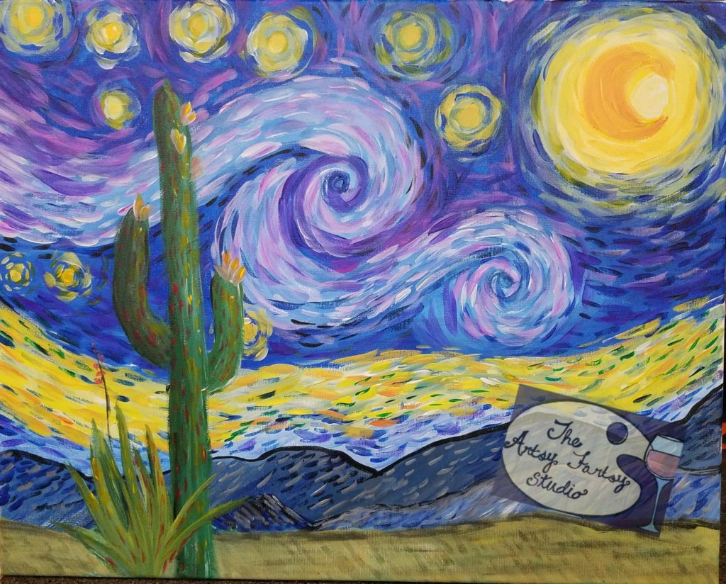 Starry night in az the artsy fartsy studio for Painting with a twist arizona